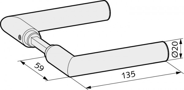 WSS Türdrücker Gehrungsform für Glastürschlösser, 22.108.0000.112